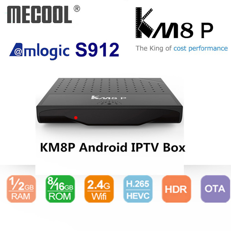 Mecool KM8 P Octa Core TV Box Amlogic S912 Android TV Box ROM 1G 2G RAM 8G  16G Android 7 1 Smart Media Player KM8P TV Receiver