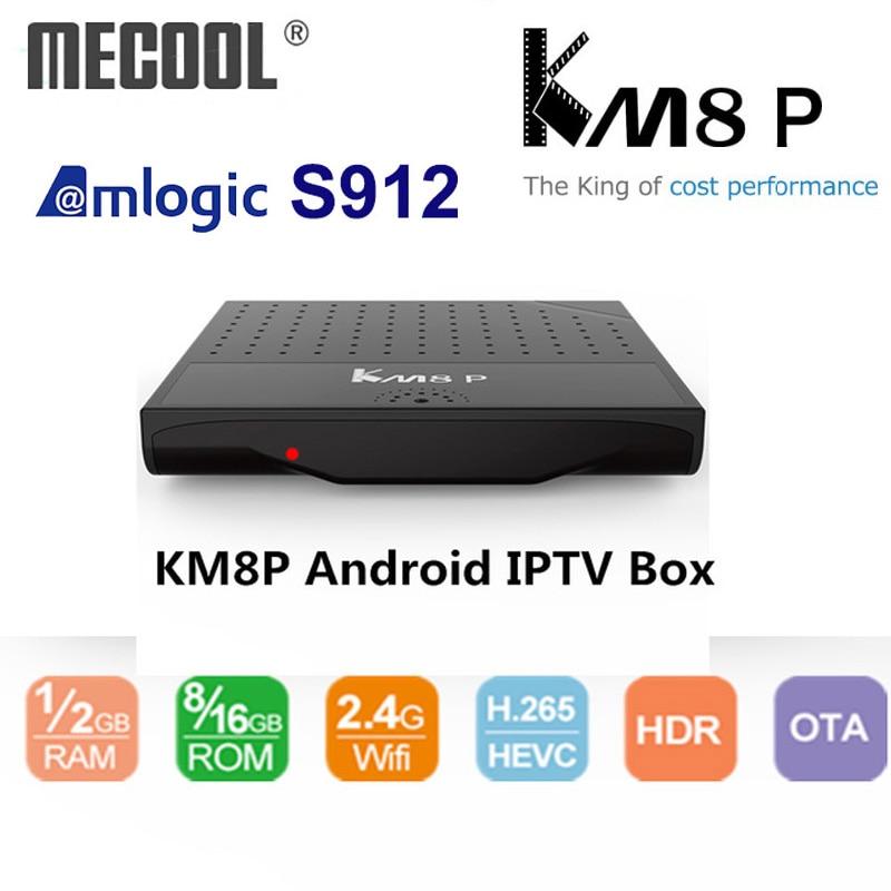 Mecool KM8 P Octa Core TV Box Amlogic S912 Android TV Box ROM 1G 2G RAM 8G 16G 4 K Android 7.1 Smart Media Player Unterstützung IPTV