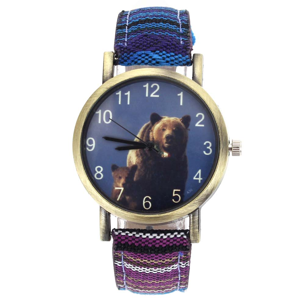 Big Brown Bears Grizzly Mama Bear Arctos Animal Fashion Men Women Accessories Stripes Denim Canvas Band Sport Quartz Watch ...