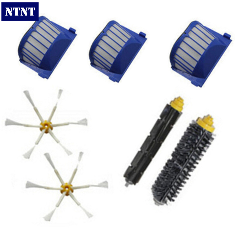 NTNT For iRobot Roomba 600 Series 595 620 630 650 660 Vacuum Cleaner 3 AeroVac Filter + Hair Brush kit+2 side brush Accessories irobot щетка для scooba 450