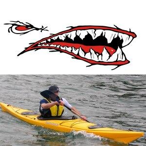 Image 3 - 2 Pcs Denti di Squalo Bocca Sticker Bocca Dei Pesci Sticker Barca Da Pesca Canoa Auto Camion Barca Kayak Gonfiabile In Vinile Adesivi Accessori