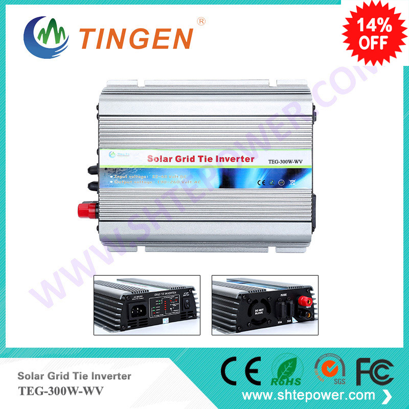 Tie grid inverter 300w for solar panel with mppt function dc 22-60v input to ac output two different voltage 90-130v 190-260v 300w solar grid on tie inverter dc 10 8 30v input to two voltage ac output 90 130v 190 260v choice