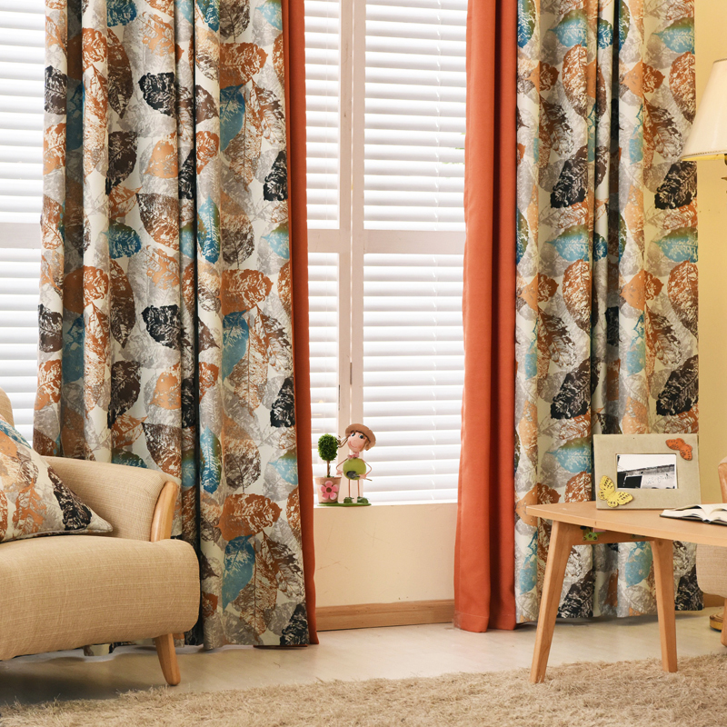 Pastoral blackout <font><b>window</b></font> curtains bedroom luxury <font><b>design</b></font> rustic leaves modern <font><b>window</b></font> <font><b>shades</b></font> living room ready made curtains