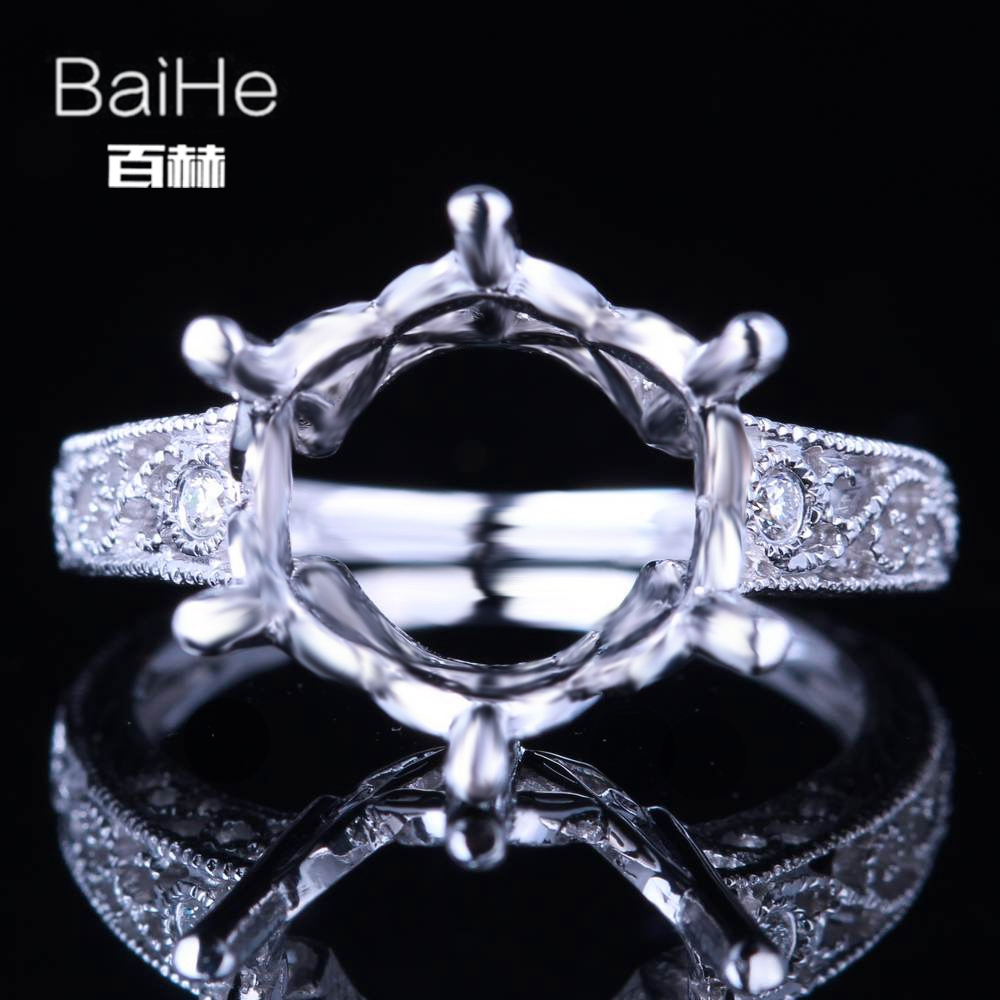 BAIHE Solid 10K White Gold Certified Round Cut Engagement Women Vintage Fine Jewelry Elegant unique Semi Mount Ring             BAIHE Solid 10K White Gold Certified Round Cut Engagement Women Vintage Fine Jewelry Elegant unique Semi Mount Ring