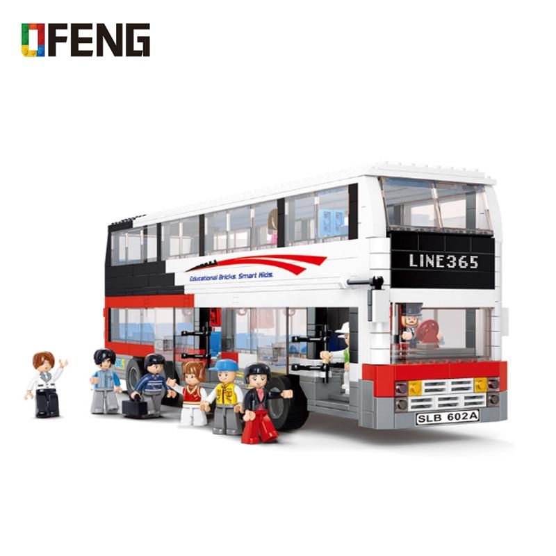 City Decker Bus Building Blocks Sets Compatible Creator Model Car Bricks Figures Educational Toys for Children