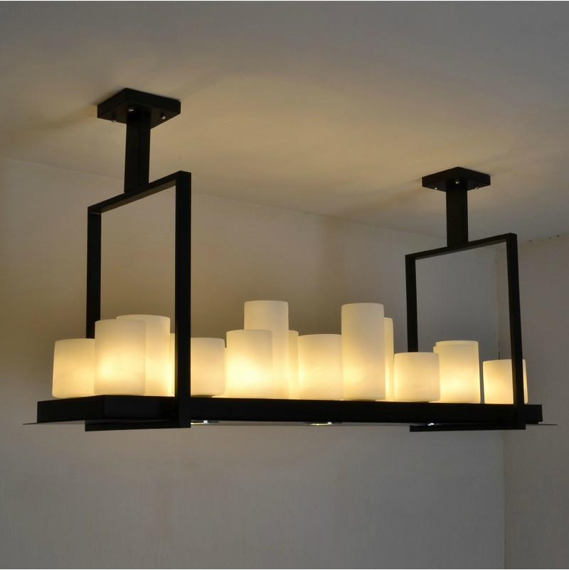 kevin reilly american country large living room dining room rounded rectangular led resin candle chandelier lamp candle decorative modern pendant lamp
