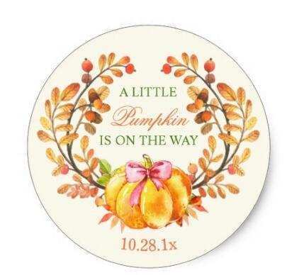 Купить с кэшбэком 1.5inch Fall Baby Shower A Little Pumpkin is on the Way Classic Round Sticker