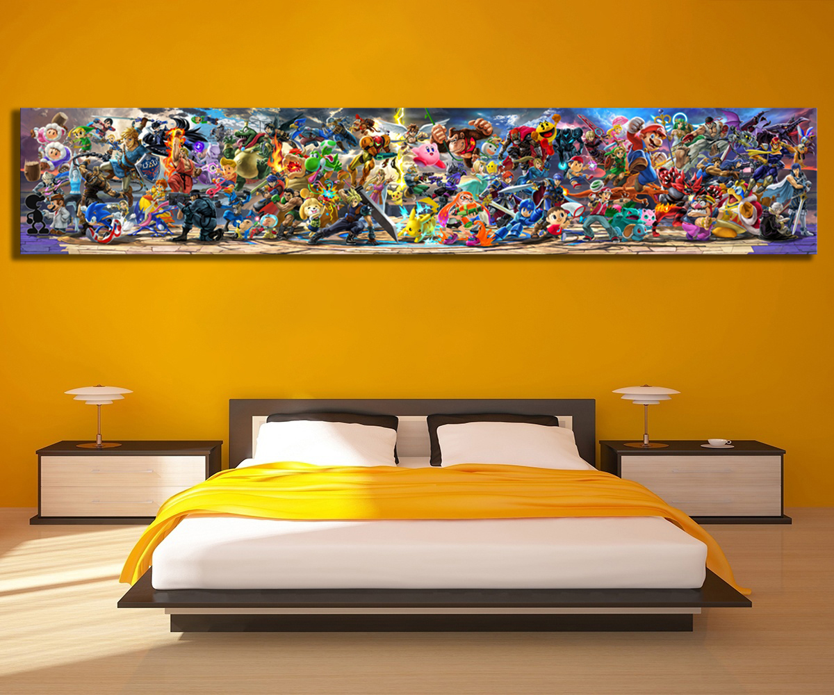 Newest Super Smash Bros Ultimate Update Art Video Game Poster Cartoon Pictures Artwork Canvas Paintings Wall Art for Home Decor 2