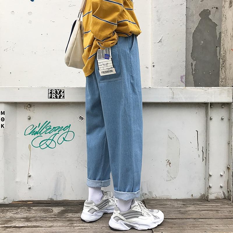 Image 3 - 2019 New Mens Biker Stretch Loose Classic PATCH Jeans Holes  Denim Famous Brand Casual Straight Harem Pants Blue/black  TrousersJeans