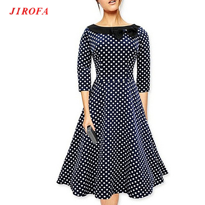 2017 Women Party Midi Dresses font b Dots b font Printed Casual Bow Ruffles OL Patchwork 3 dots clothing promotion shop for promotional 3 dots clothing on,3 Dots Womens Clothing