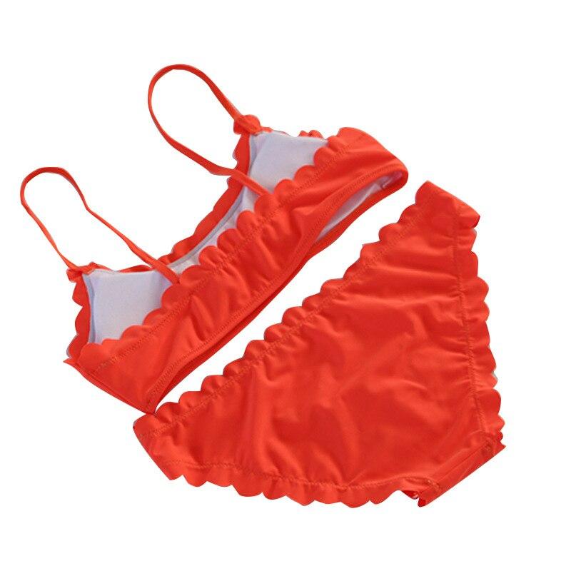 Orange Scalloped Edge Bandeau Style Bikini  2