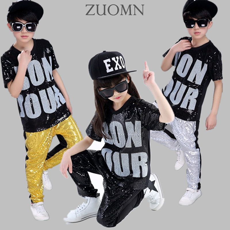 Boy Girls Sequin Hip Hop Clothing Set Kids JazzModern Dance Costumes Dancewear Suits Kids Street Dancing Costume Clothes YL480 new kids dancewear set boys girls sequined stage performance costume modern jazz hip hop dance wear top