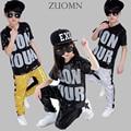Boy Girls Sequin Hip Hop Clothing Set Kids JazzModern Dance Costumes Dancewear Suits Kids Street Dancing Costume Clothes YL480