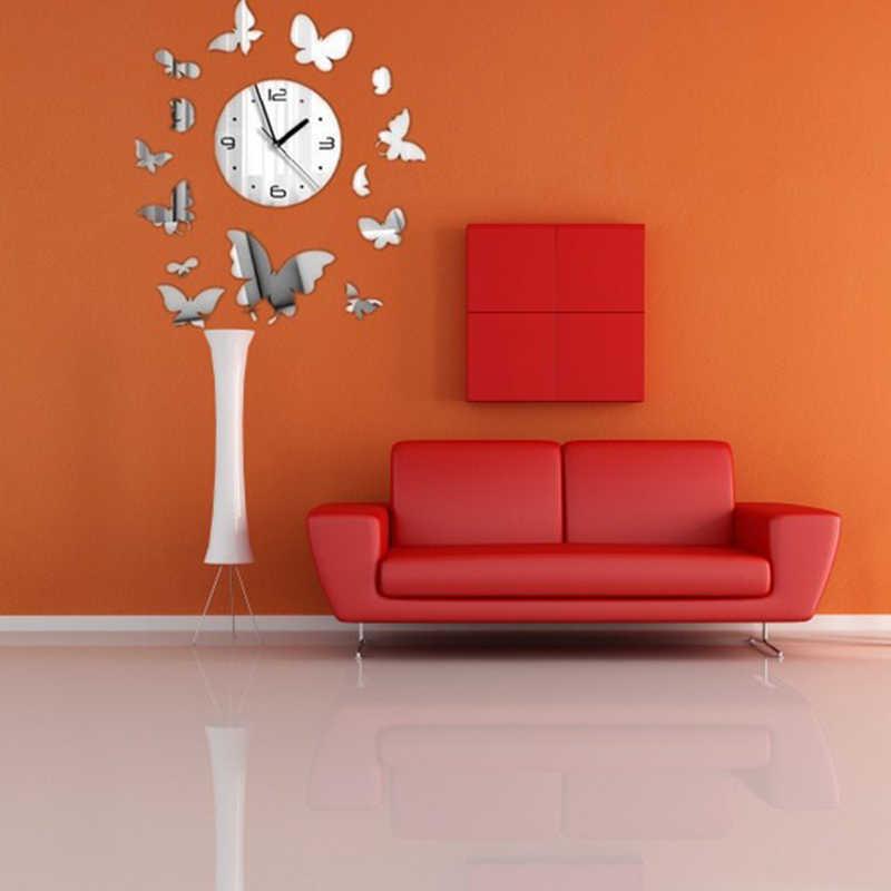 Zdejmowana 3D akrylowa ściana lustrzana zegar srebrne serce wzór motyla nowoczesny luksusowy Design naklejka ścienna salon dekoracja sypialni