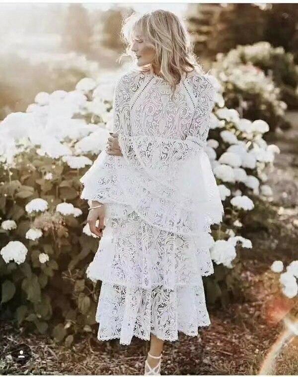 Осенне зимнее Модное Новое Белое платье женские вечерние кружевные платья с расклешенными рукавами Лидер продаж