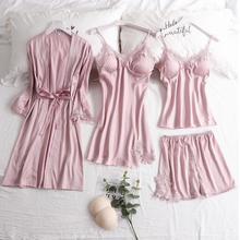 Feier 4 Pieces Silk Lace Robes Homewear for Women High Quality Summer Sleepwear Sets Pijamas Dress