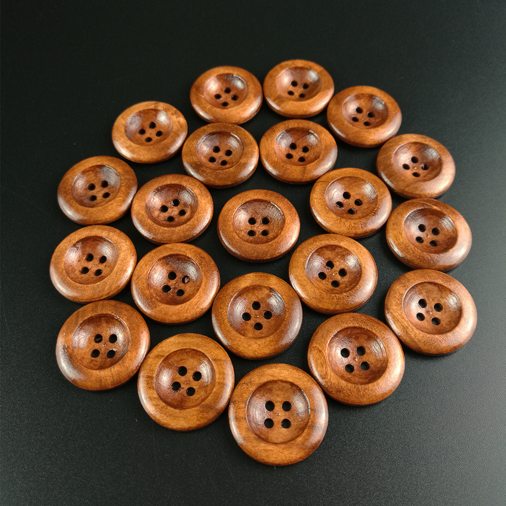 """4 Holes 20pcs Round Wooden Buttons DIY Clothing Apparel Sewing Decorative Buttons 25mm(1"""") Scrapbooking Buttons for Clothing"""