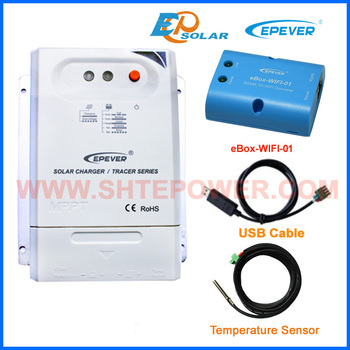 mppt 24V Battery Charger EPEVER USB cable Temp sensor Solar panels controller Tracer2210CN 20A 20amps Wifi eBOX adapter