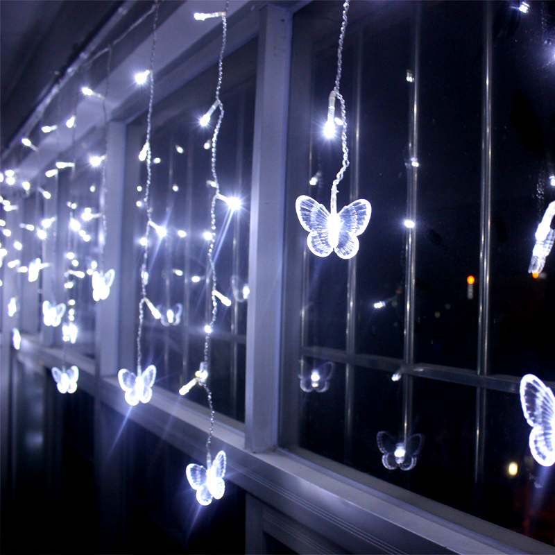 6M x 0.5M 158 Bulbs Butterfly Garland Fairy Lights LED Curtain Strings Christmas Decorations For Holiday Party Wedding Lights