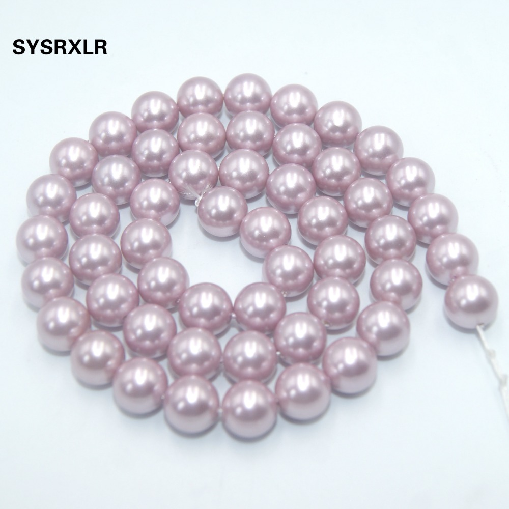 Wholesale 17 Colors Natural Fresh Water Shell Simulated Pearl Beads For Jewelry Making DIY Bracelet Necklace 6 8 10 12 MM Strand in Beads from Jewelry Accessories