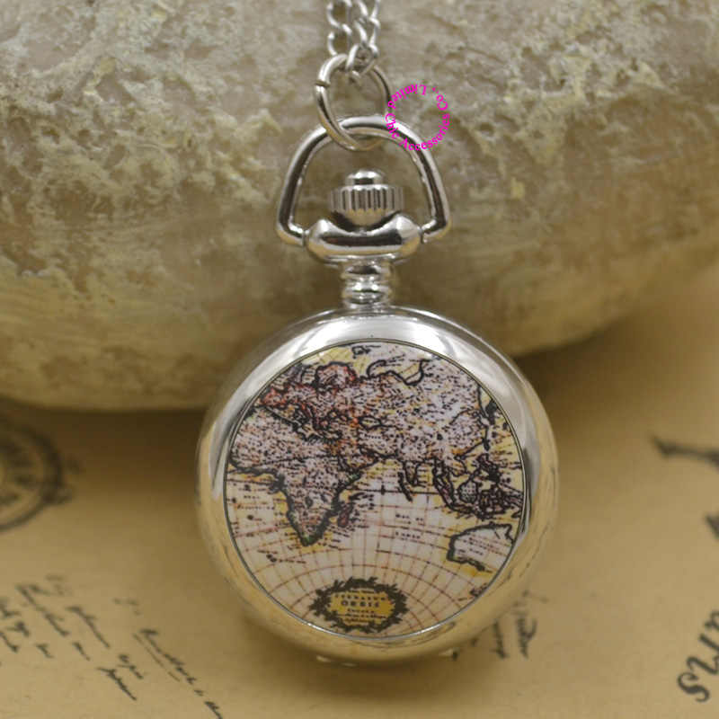new silver classic fashion girl enamel pocket watch necklace brown globe world map with chain wholesale buyer price good quality