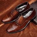 Venta caliente de Los Hombres Zapatos de Vestir de Negocios Señaló Zapatos de Los Planos Zapatos Planos de la Marca de Cuero Genuino Oxford Zapatos de Boda Más El Tamaño 38-47