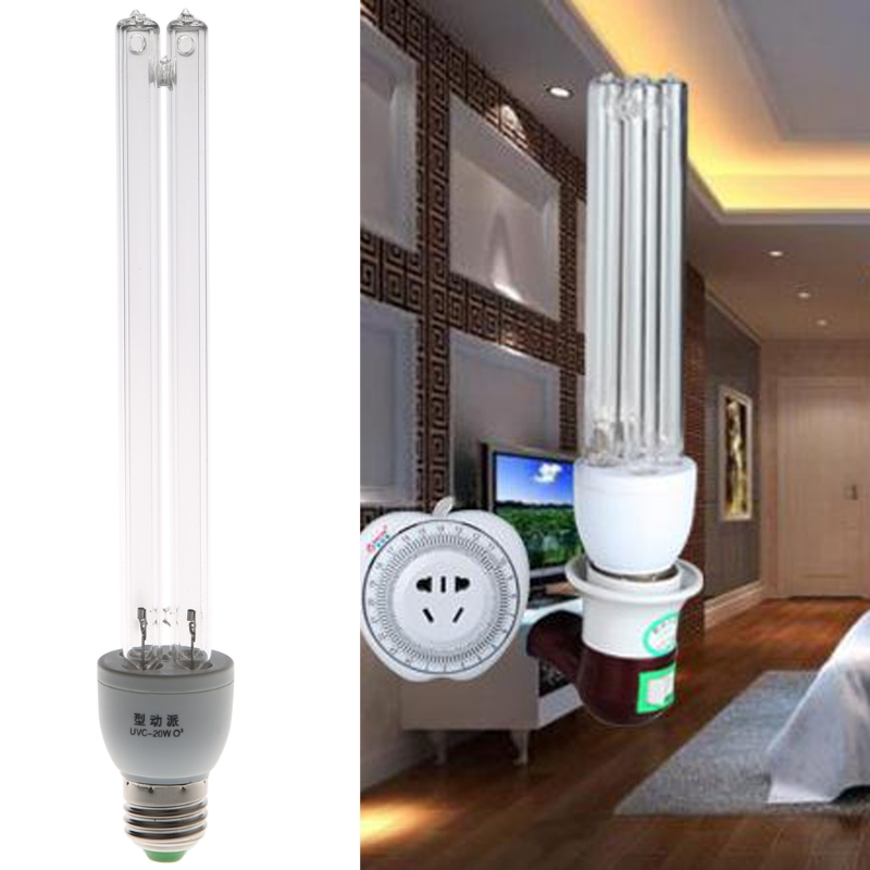купить 20W E27 AC 220V UV Light UVC Ultraviolet Disinfection Ozone Sterilization Lamps Germicidal Lamp