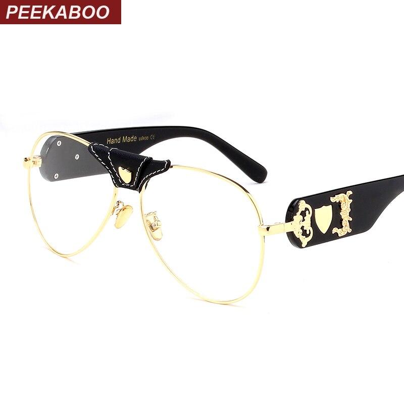 Peekaboo big fashion eye glasses frames for men brand black clear ...