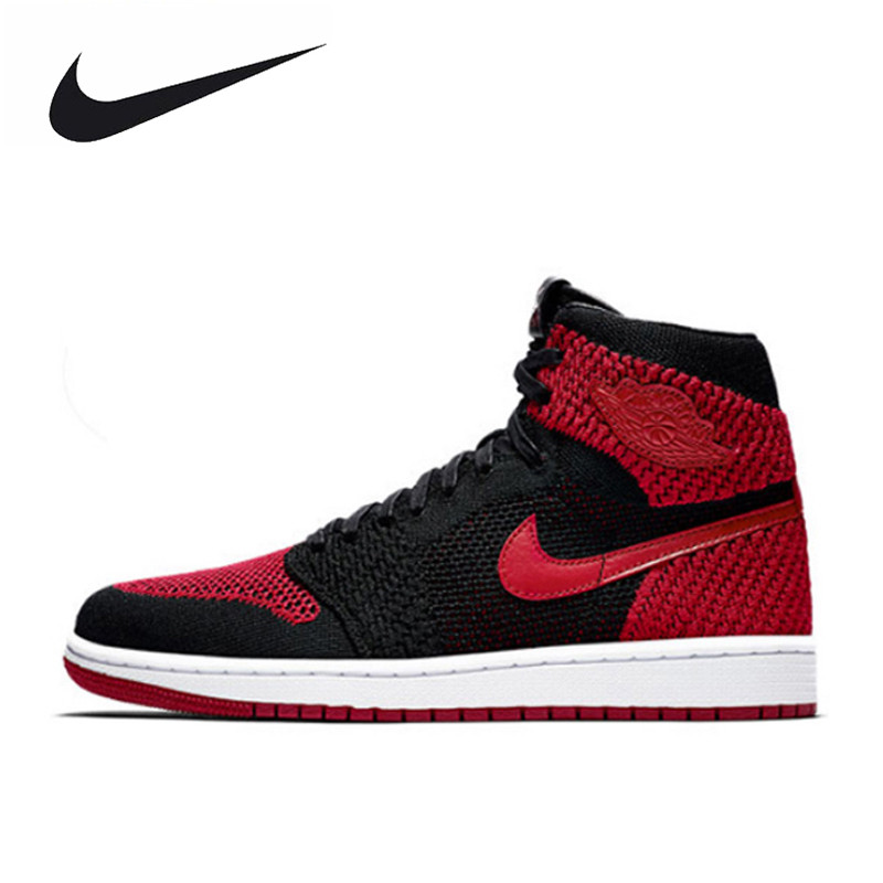 Nike Air Jordan 1 Flyknit AJ1 Men's Breathable Original New Arrival Official Basketball Shoes Sports Sneakers 919704-001 nike nike air jordan 1 mid original girl kids basketball shoes children causal skateboarding sneakers