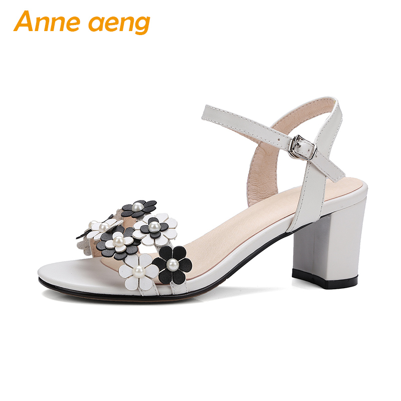 summer women sandals open-toe genuine leather block heel buckle strap flowers sweet kawaii ladies white black summer women shoes недорго, оригинальная цена