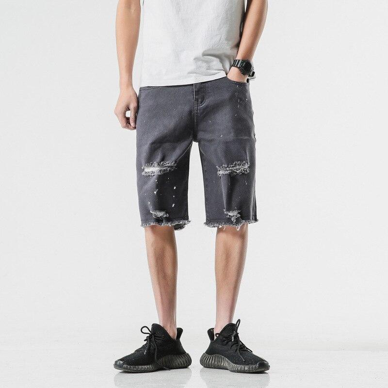 LEDINGSEN Ripped Black Jean Shorts Cotton Loose Distressed Denim Shorts Casual Summer Shorts Men Plus Size 5XL New Deisign