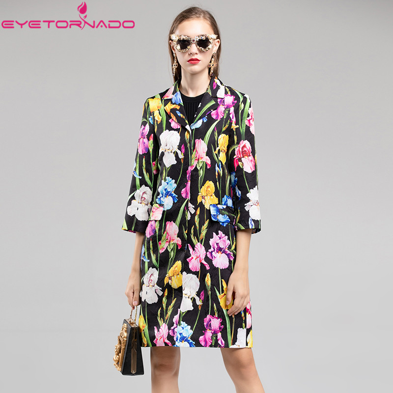 2019 Fashion Autumn Winter Tulip Floral Print dobby Coats Women's Slim elegant Work Office Long   Trench   Vintage Outerwear Female