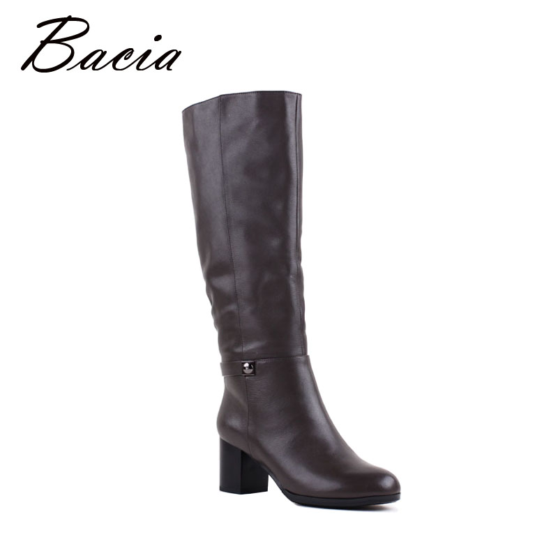 Bacia Brand Heel Women Boots Handmade Quality Genuine Leather Boots Warm Winter Shoes With Wool Fur Grey Knee High Boots VB081 bacia russian original design boots knee high platform boot genuine leather quality shoes handmade footwear women botas vc001
