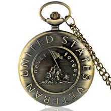Fashion Top Brand Luxury Vintage US Veteran Army Bronze Pocket Watch Quartz Necklace Pendant Antique Gift