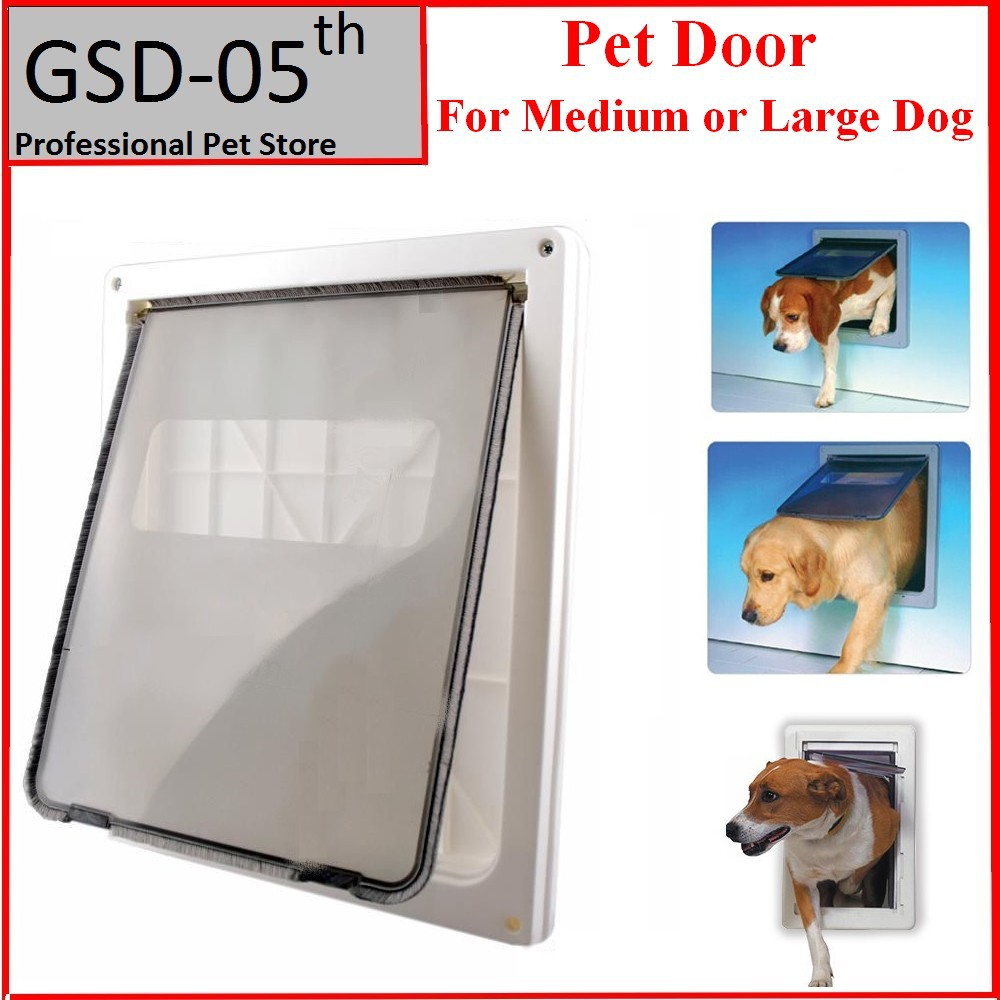 Large Dog Door ABS Plastic White Safe Pet Door For Large Medium Dog Freely In and
