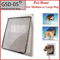 ABS Plastic White Safe Pet Door For Large Medium Dog Freely In And Out Home Gate