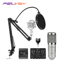 FELYBY professional bm800 condenser microphone 48V phantom power multi function live sound card and metal shockproof rack