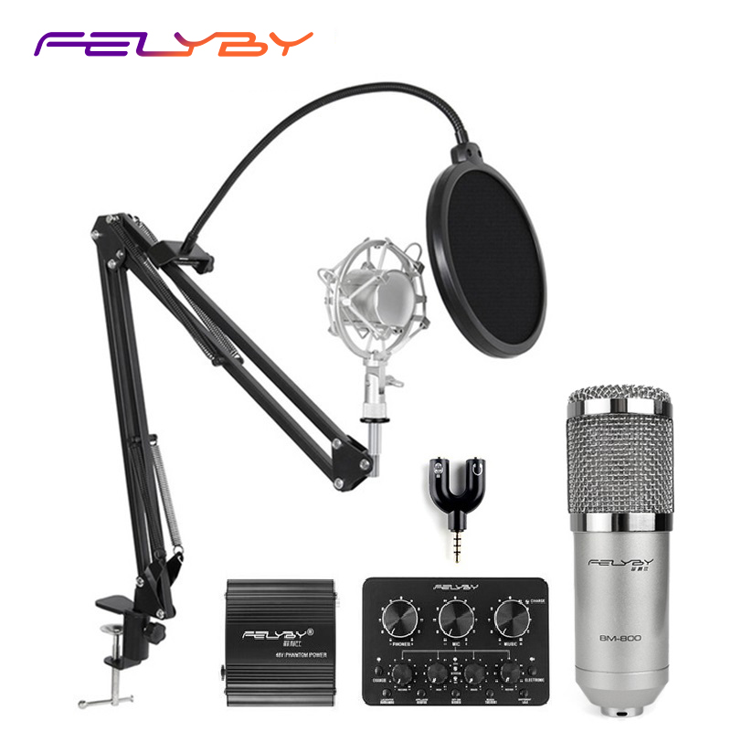 FELYBY professional bm800 condenser microphone 48V phantom power multi-function live sound card and metal shockproof rack felyby multi function live sound card professional condenser microphone bm800 for computer karaoke network podcast microphone