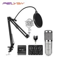 FELYBY professional bm800 condenser microphone 48V phantom power multi function live sound card and metal shockproof rack