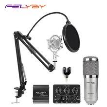 FELYBY profesyonel bm800 kondenser mikrofon 48V fantom güç çok fonksiyonlu canlı ses kartı ve metal darbeye dayanıklı raf