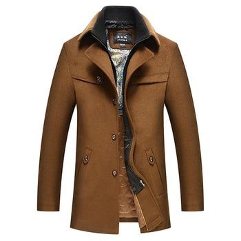 Vogue Nice Winter New Fashion Medium Long Woolen Trench Coat Men Overcoat Winter Jacket Men Windbreaker Thick Solid Black