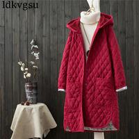 2019 Literary Vintage Winter Loose Hooded Jacket Long Down Cotton Coat Winter Women Coats Oversized V193