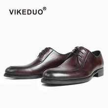 VIKEDUO Brown Spot Dyeing Derby Dress Shoes For Men Wedding Office Formal Leather Male Patina Handmade Footwear