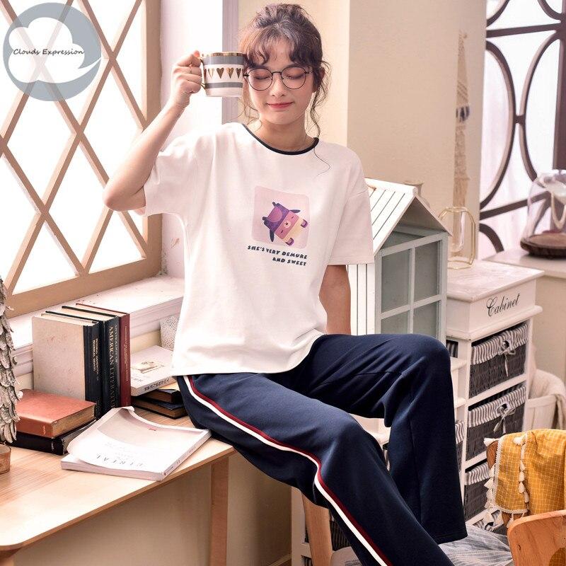 Summer New Knitted Cotton Women's   Pajama     Set   Nightwear Suit Pants Womens Cartoon   Pajama     Sets   Mujer Sleepwear Lounge Home Fashion