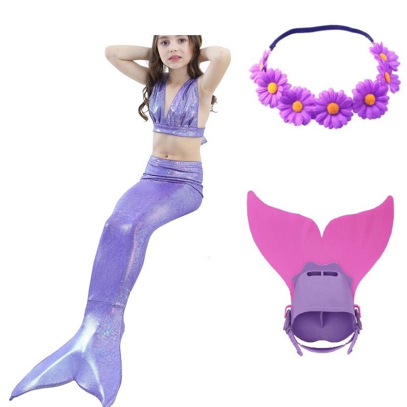 children girls monofins party swimmable ariel little mermaid tail costume tails for swimsuit Suit Bikini Swimming with monofin