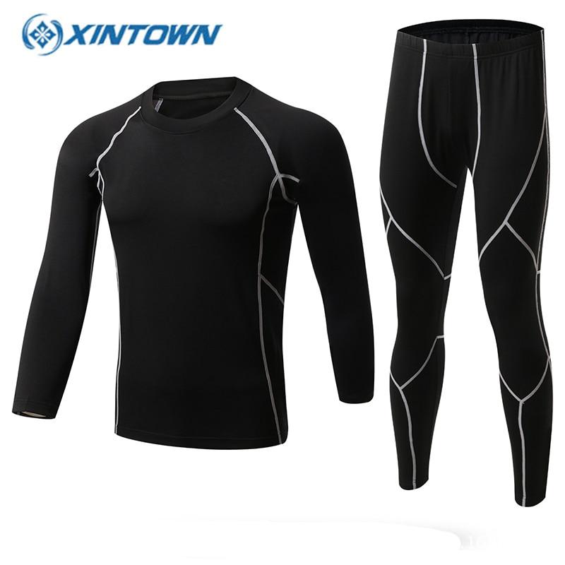 XINTOWN 2018 black Fitness Bodybuilding Base Layers bisiklet men Sport Thermal Underwear Full Suit Winter Fleece Clothing set