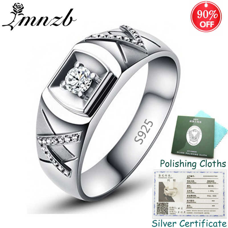 LMNZB Men Silver Wedding Ring With Original Certificate Natural 0.75Ct Diamant Engagement Rings Fine Jewelry Gift for Men ZSR077