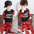 Baby boy одежда камуфляж Новая Зимняя Осень письмо с длинным рукавом футболка + повседневная длинные брюки 2 шт. спортивный костюм дети одежда