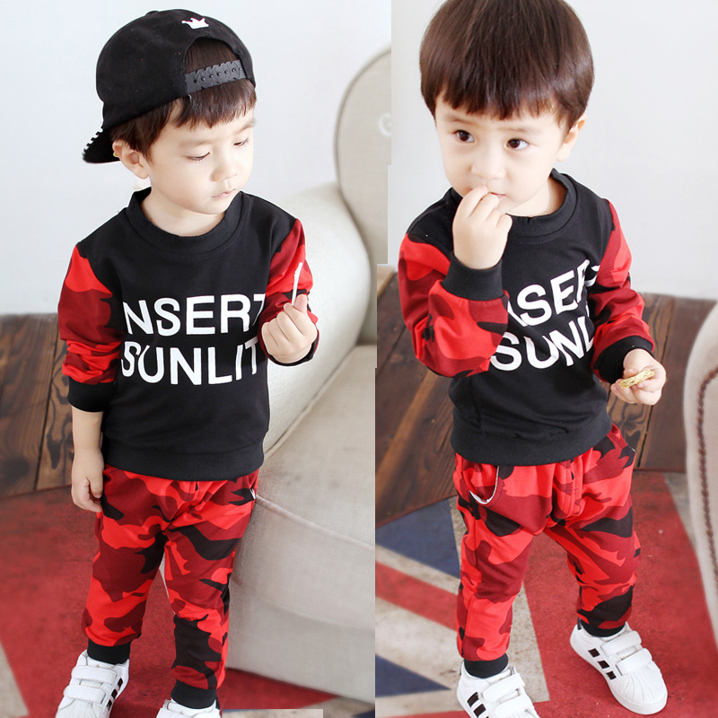 Baby boy clothes camouflage New Winter Autumn letter long sleeve t-shirt + casual long pants 2pcs sport suit kids clothes