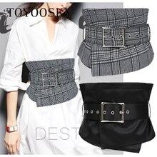 2018 New Arrival Luxury Plaid Women Wide Belt Fabric belt girdle skinny for women kemer cinto feminino TOYOOSKY